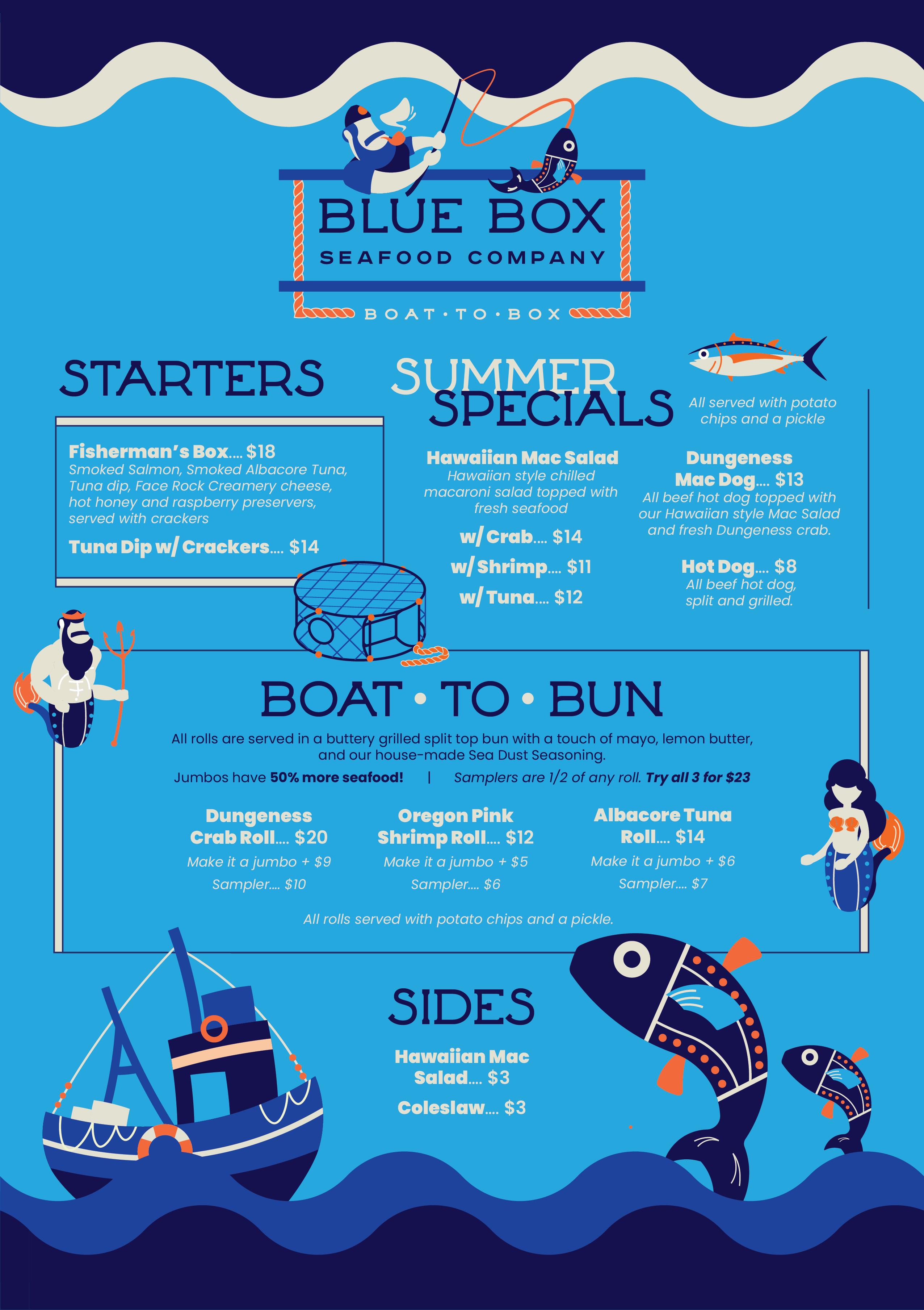 Blue Box Seafood Menu 2021